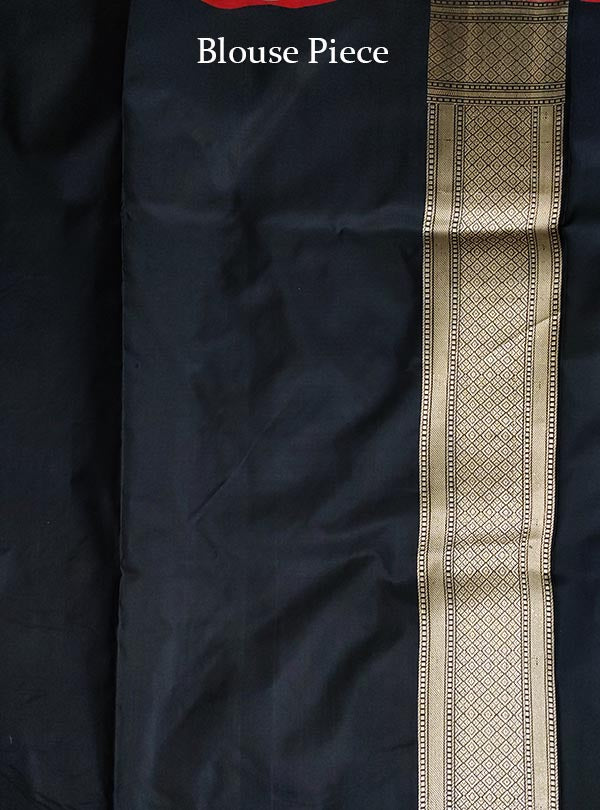 Black Katan silk handloom tanchoi Banarasi saree with mughal booti (5) BLOUSE