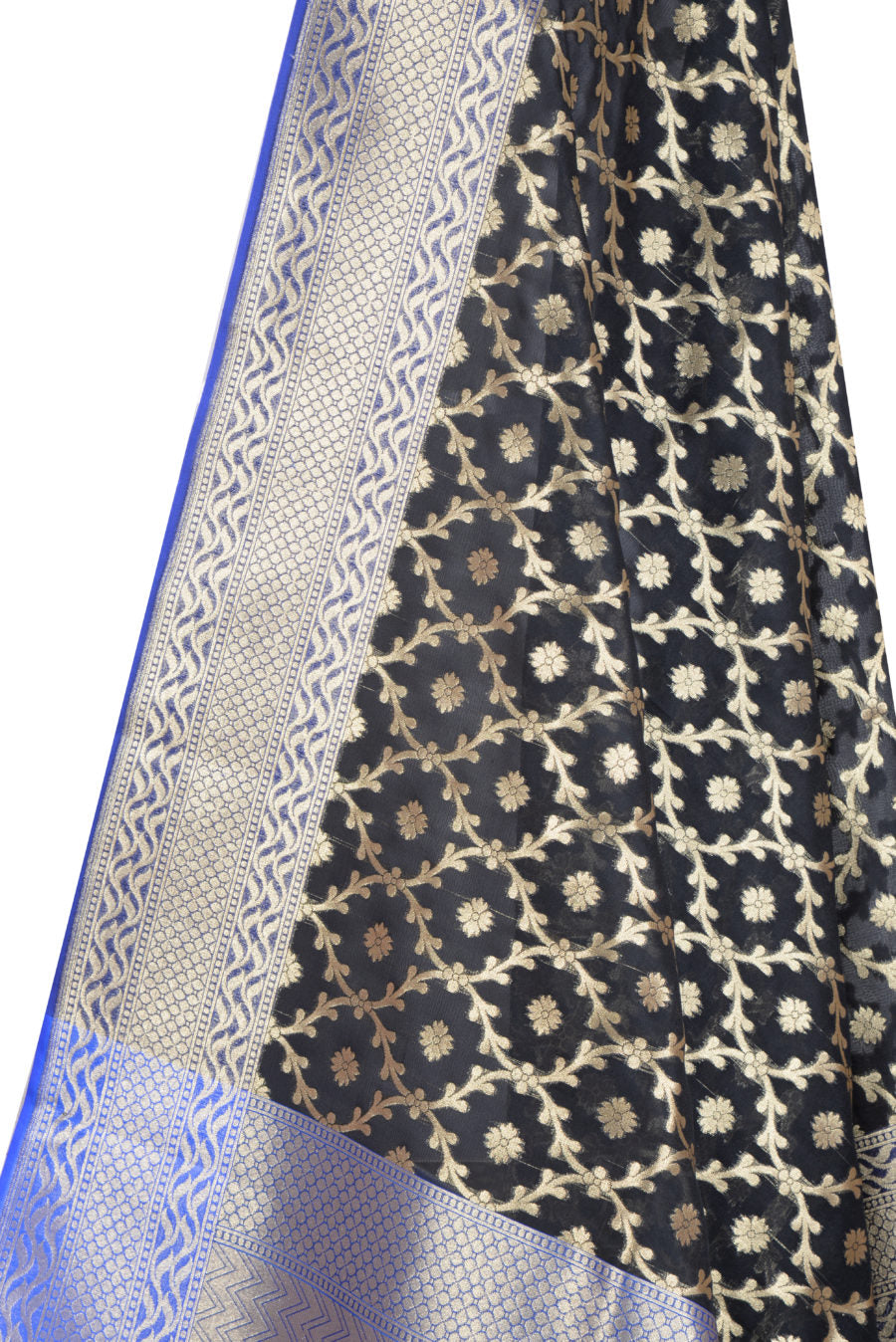 Black Banarasi Dupatta with mini leaf jaal and floral motifs (2) Closeup