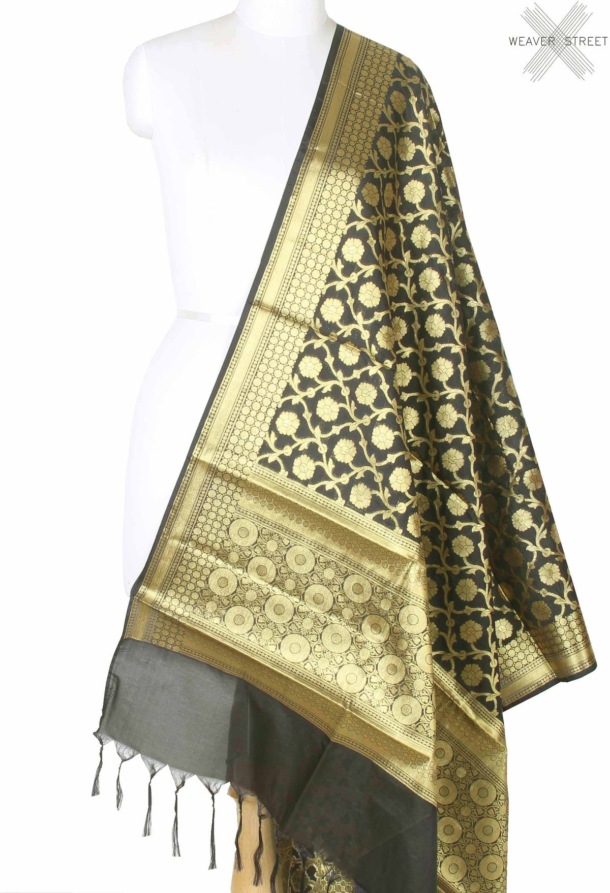 Black Banarasi dupatta with flower and leaf jaal (1) main
