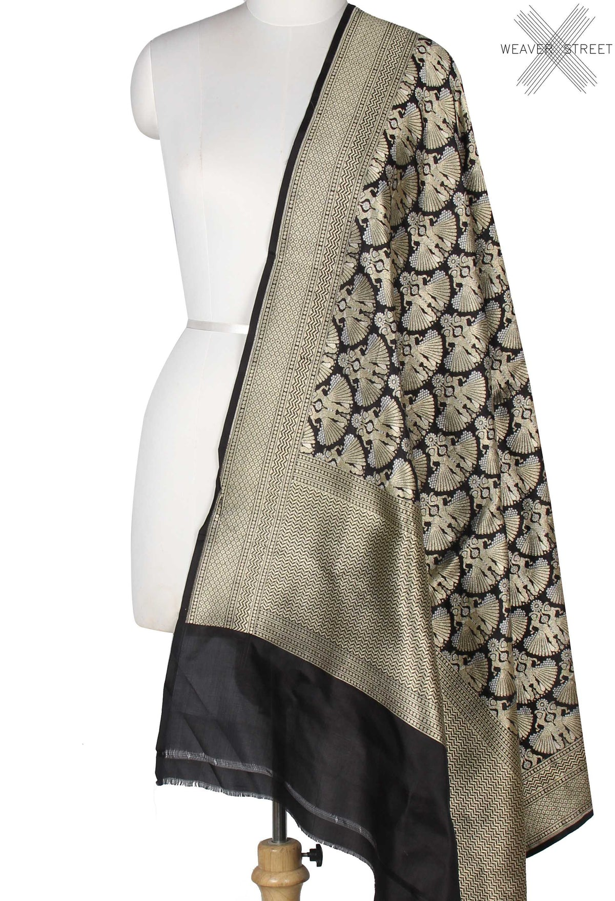 Black Katan Silk Banarasi Dupatta with dancing lady in dual zari (1) Main