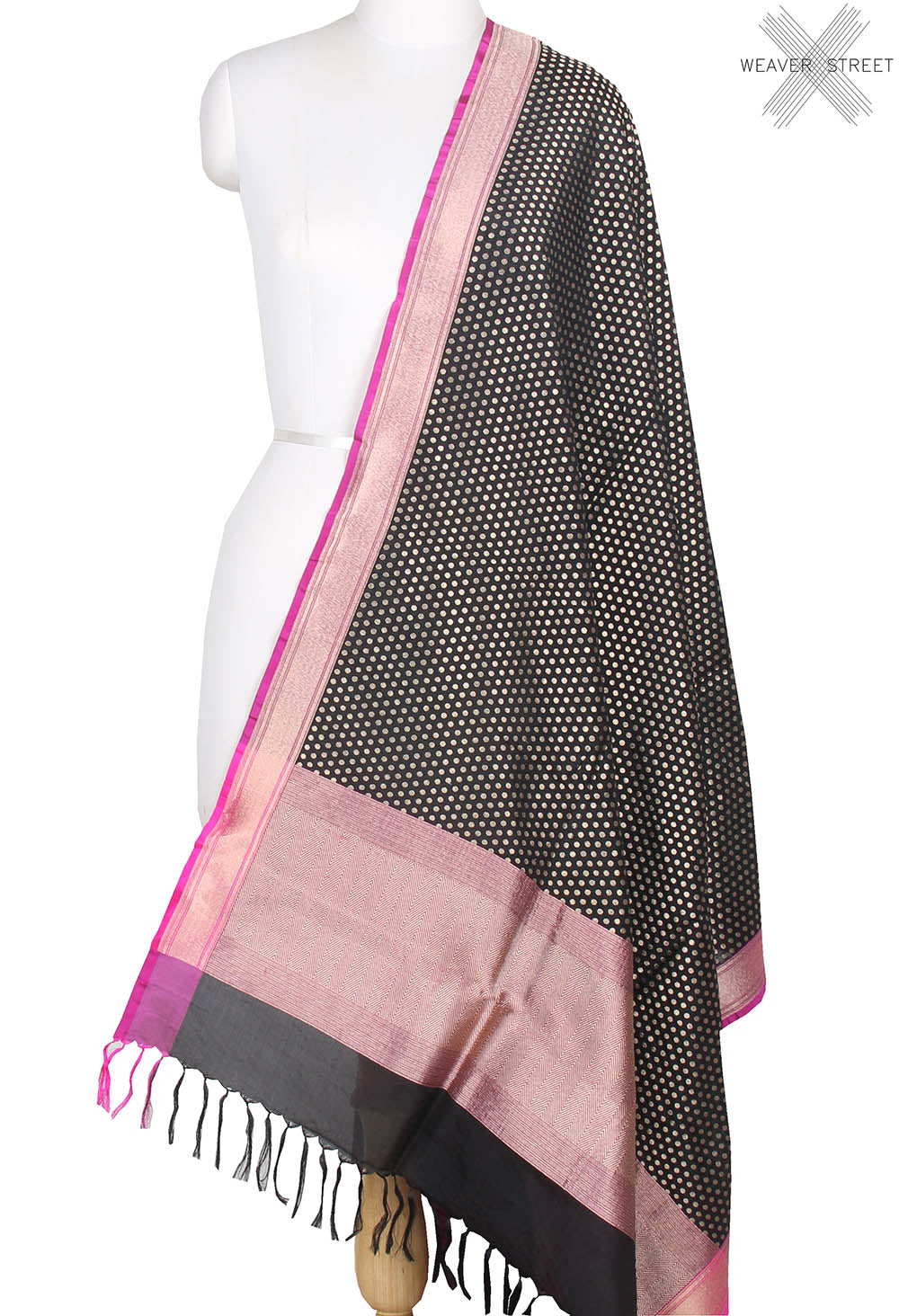 Black Silk cotton Banarasi dupatta with mini polka dots (1) main