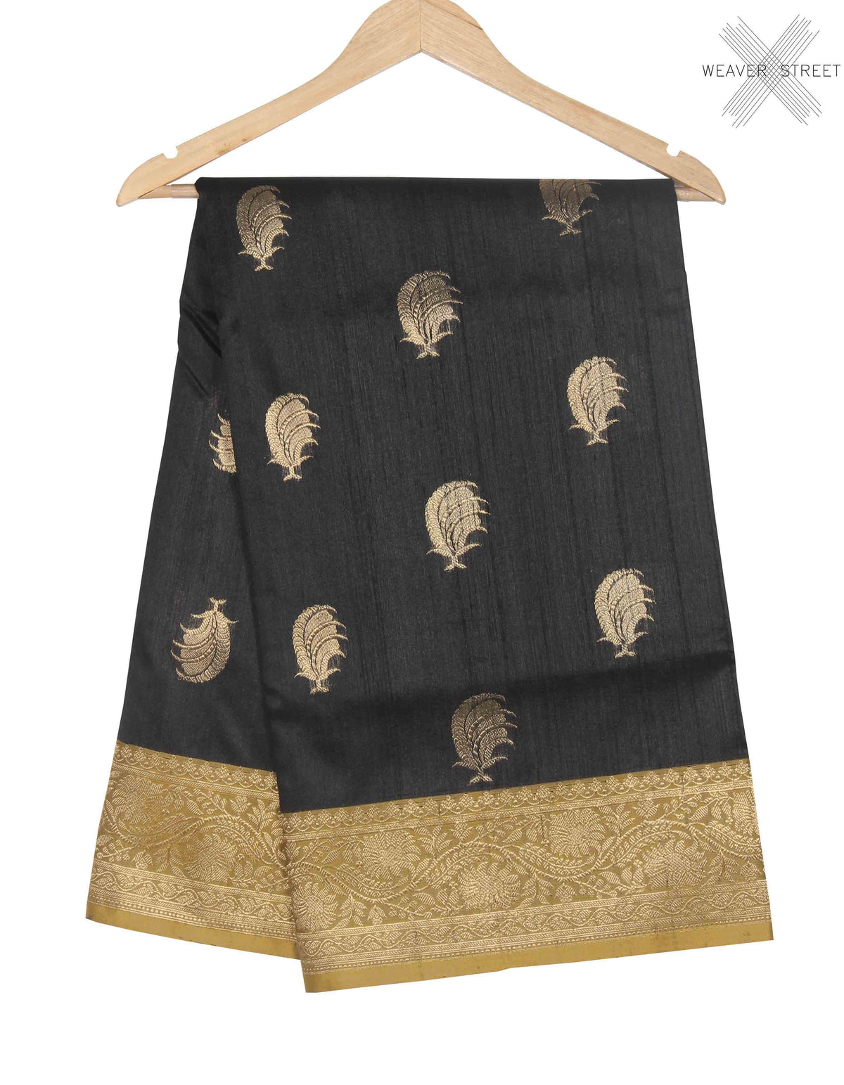 Black Tussar Silk Handwoven Banarasi saree with feather boota (1) main
