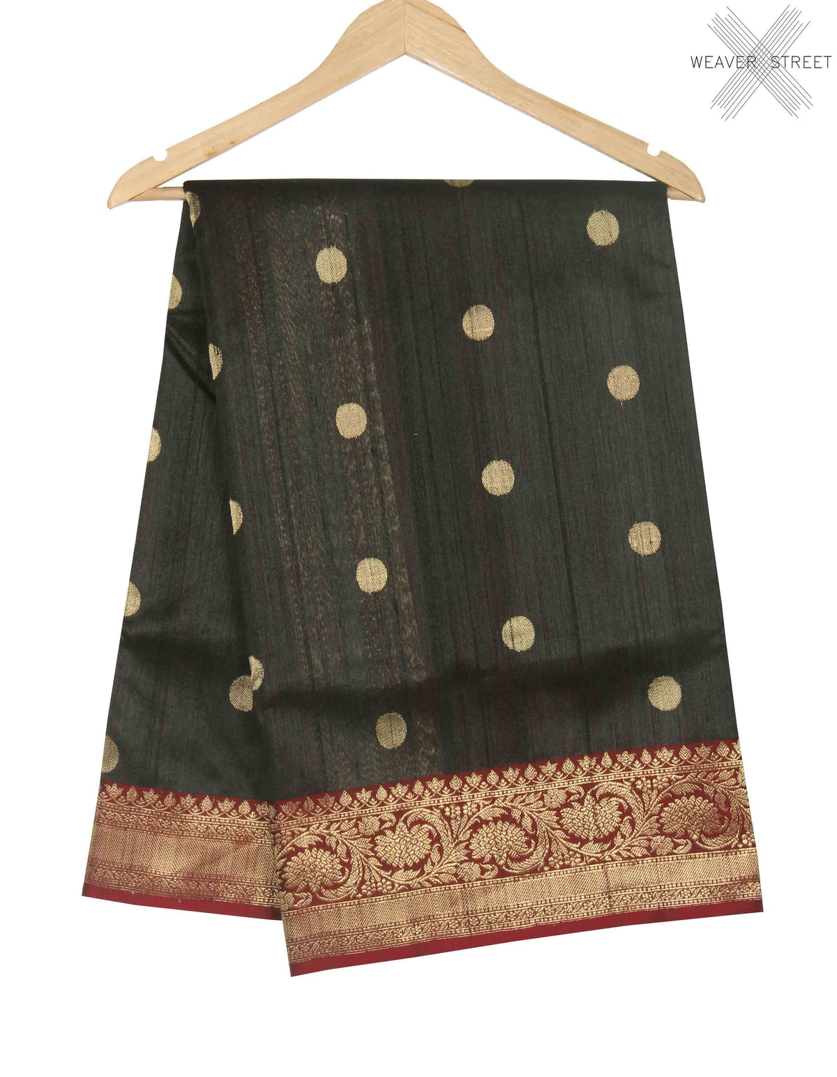 Black Tussar Silk Handwoven Banarasi saree with round shape motifs (1) main