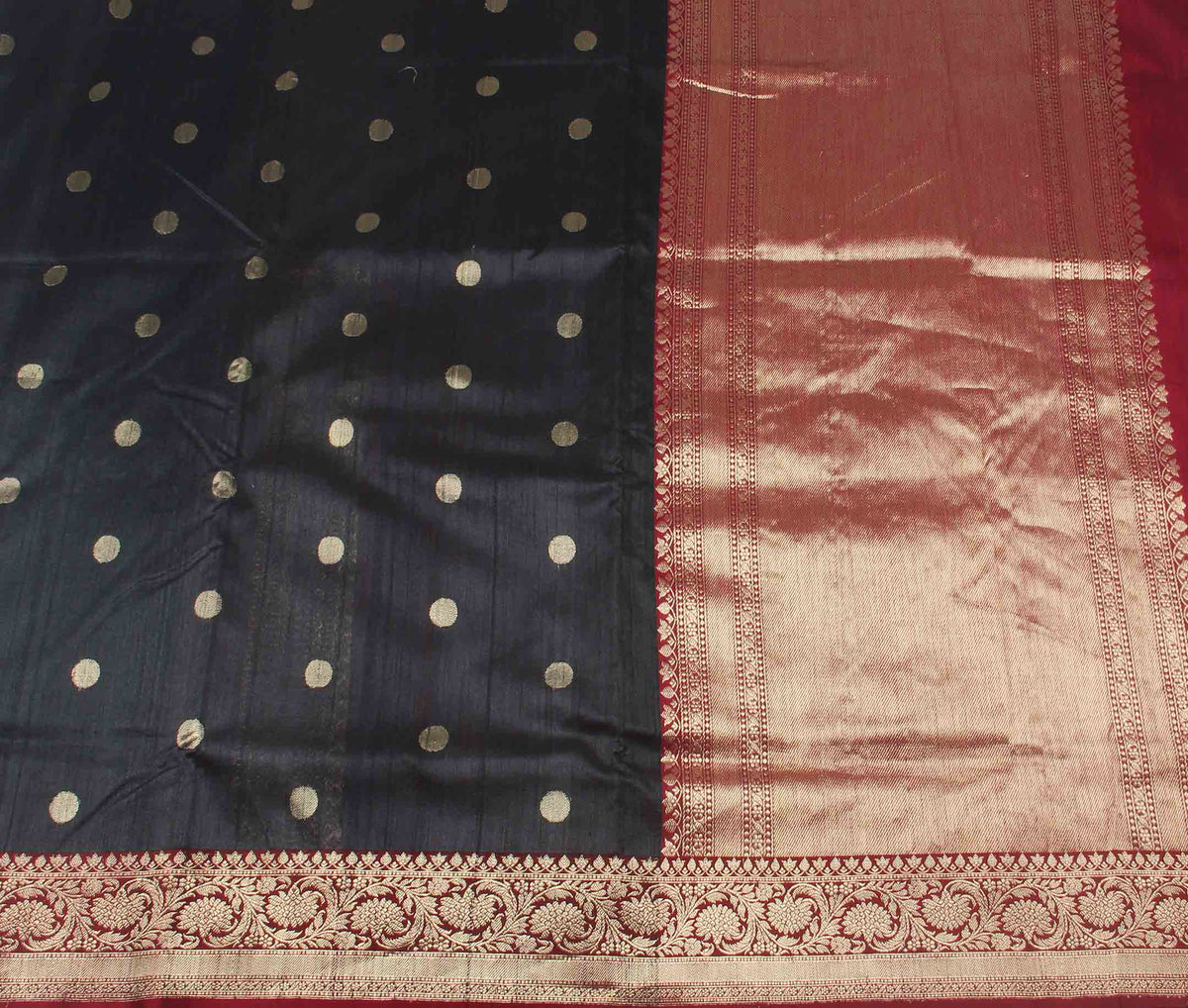 Black Tussar Silk Handwoven Banarasi saree with round shape motifs (2) flat