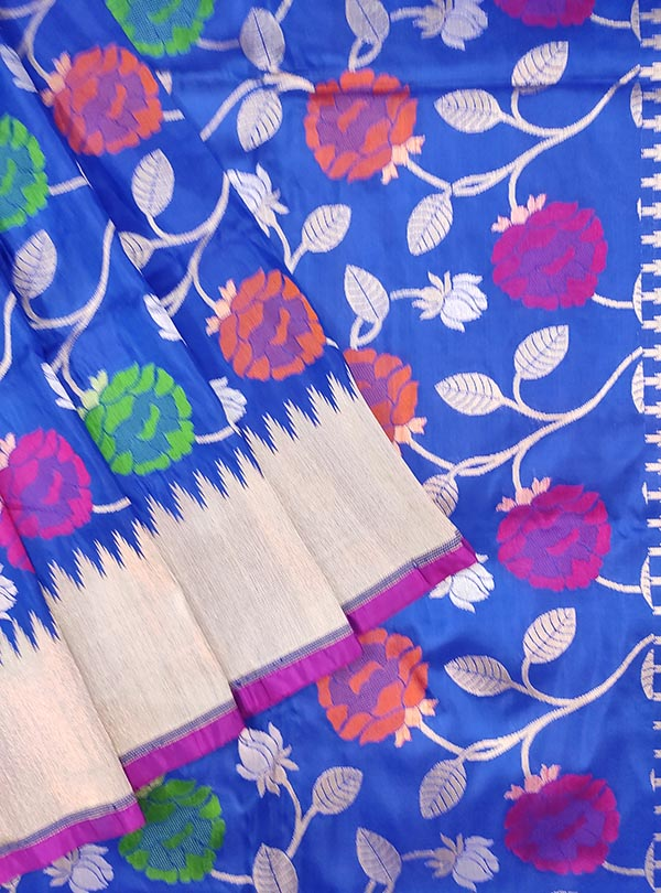Blue Katan silk Banarasi saree with multi color flower jaal (2) close up