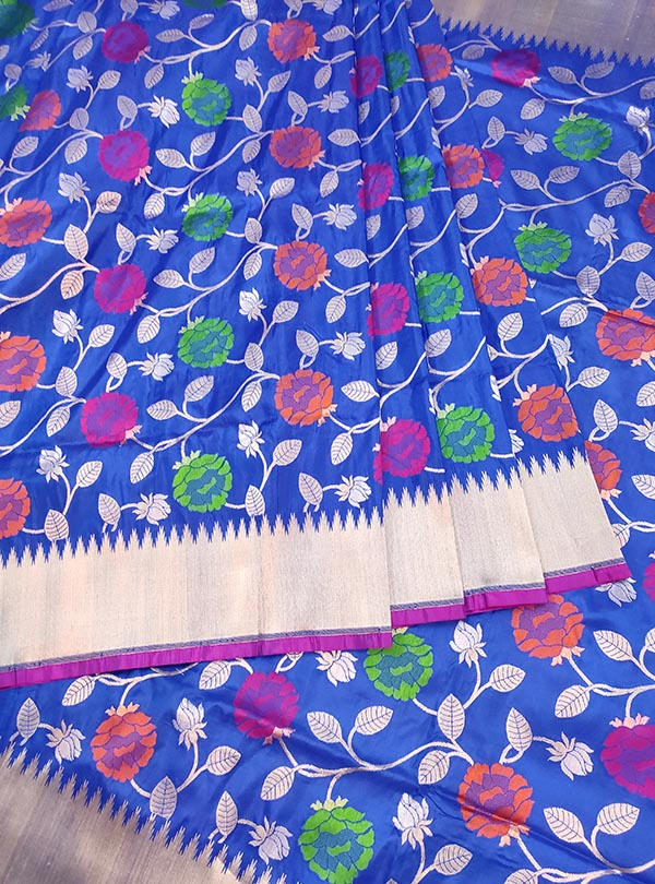 Blue Katan silk Banarasi saree with multi color flower jaal (3) center