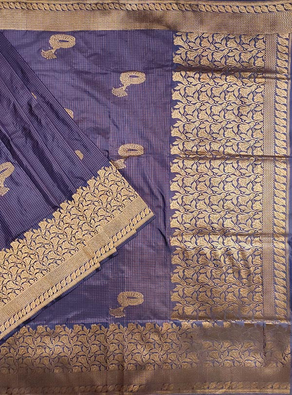 Blue Katan silk handloom Banarasi checkered saree with kadwa bracelet boota (1) main