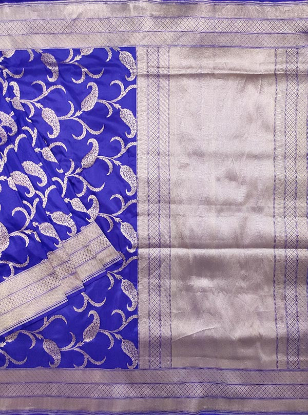 Blue Katan silk handloom Banarasi saree with paisley jaal (1) main