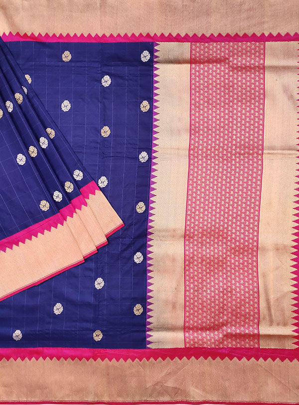 Blue Katan silk handwoven Banarasi saree with small flower buti in checks (1) main