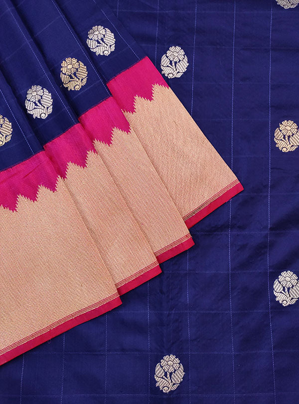 Blue Katan silk handwoven Banarasi saree with small flower buti in checks (2) close up