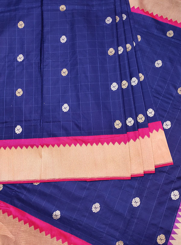 Blue Katan silk handwoven Banarasi saree with small flower buti in checks (3) center