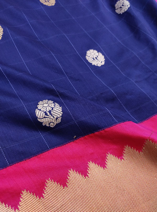 Blue Katan silk handwoven Banarasi saree with small flower buti in checks (4) zoom