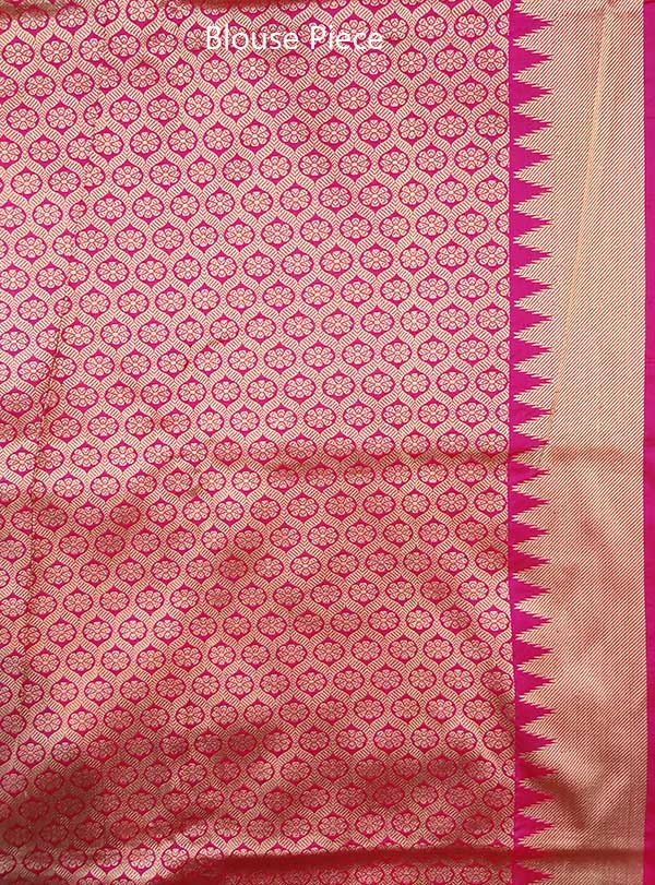 Blue Katan silk handwoven Banarasi saree with small flower buti in checks (5) blouse