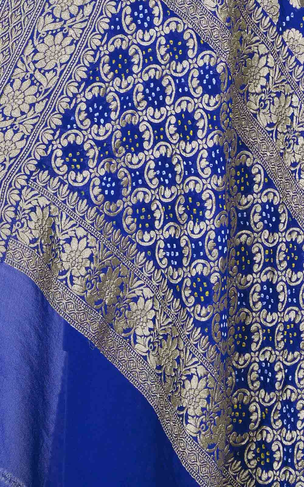 Blue Turquoise khaddi georgette Bandhani Banarasi dupatta (2) Close up