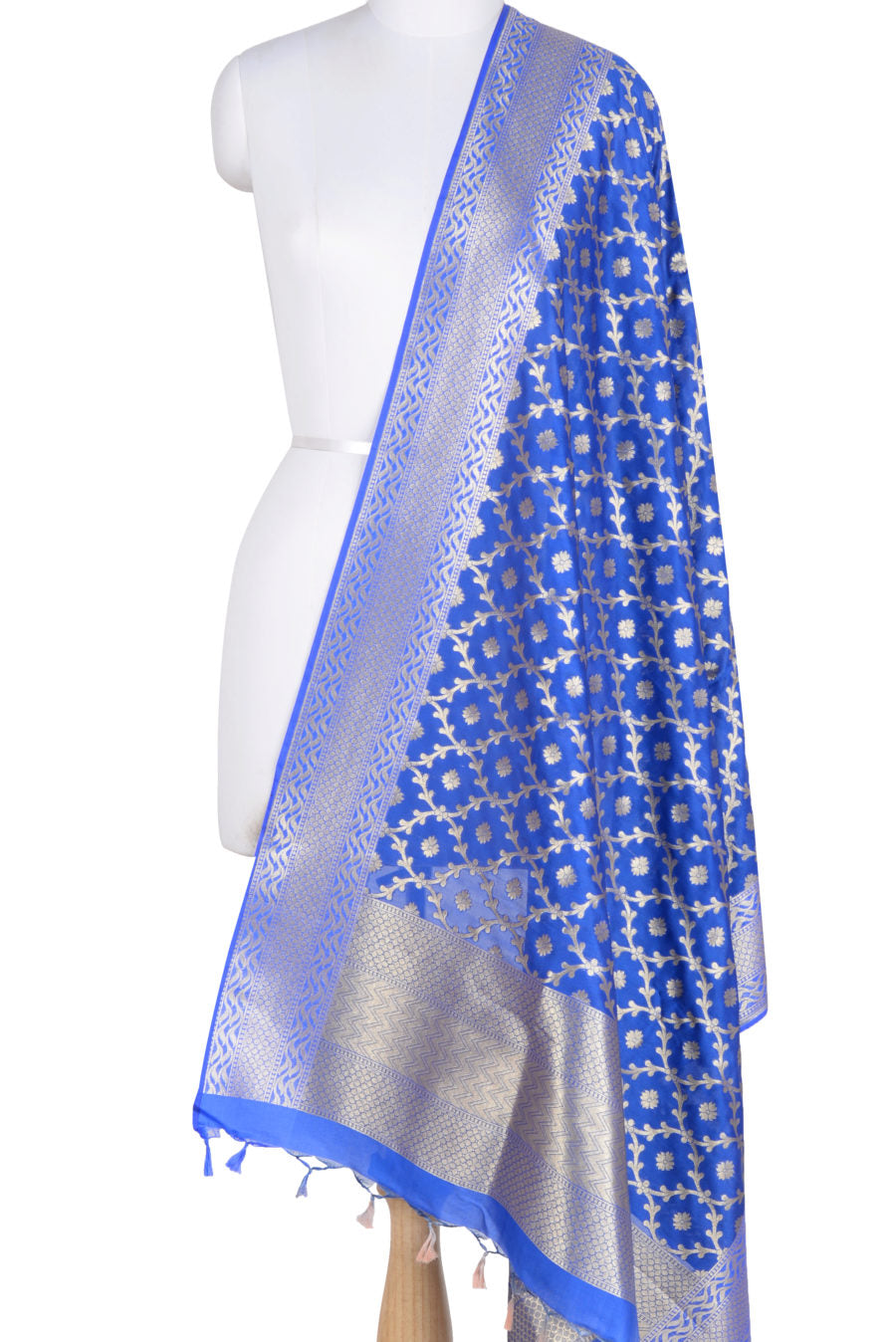 Blue Banarasi Dupatta with mini leaf jaal and floral motifs (1) Main