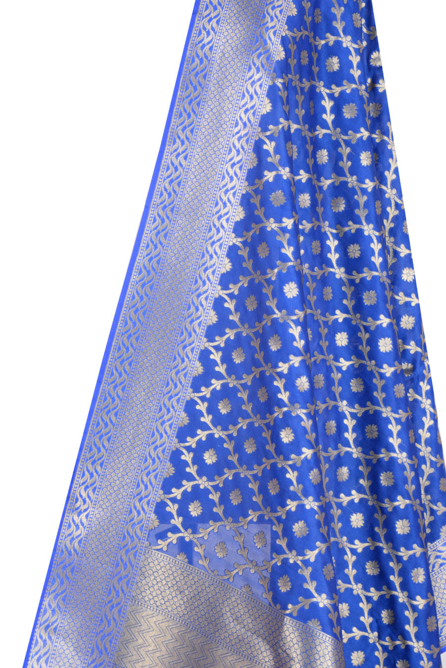 Blue Banarasi Dupatta with mini leaf jaal and floral motifs (2) Closeup