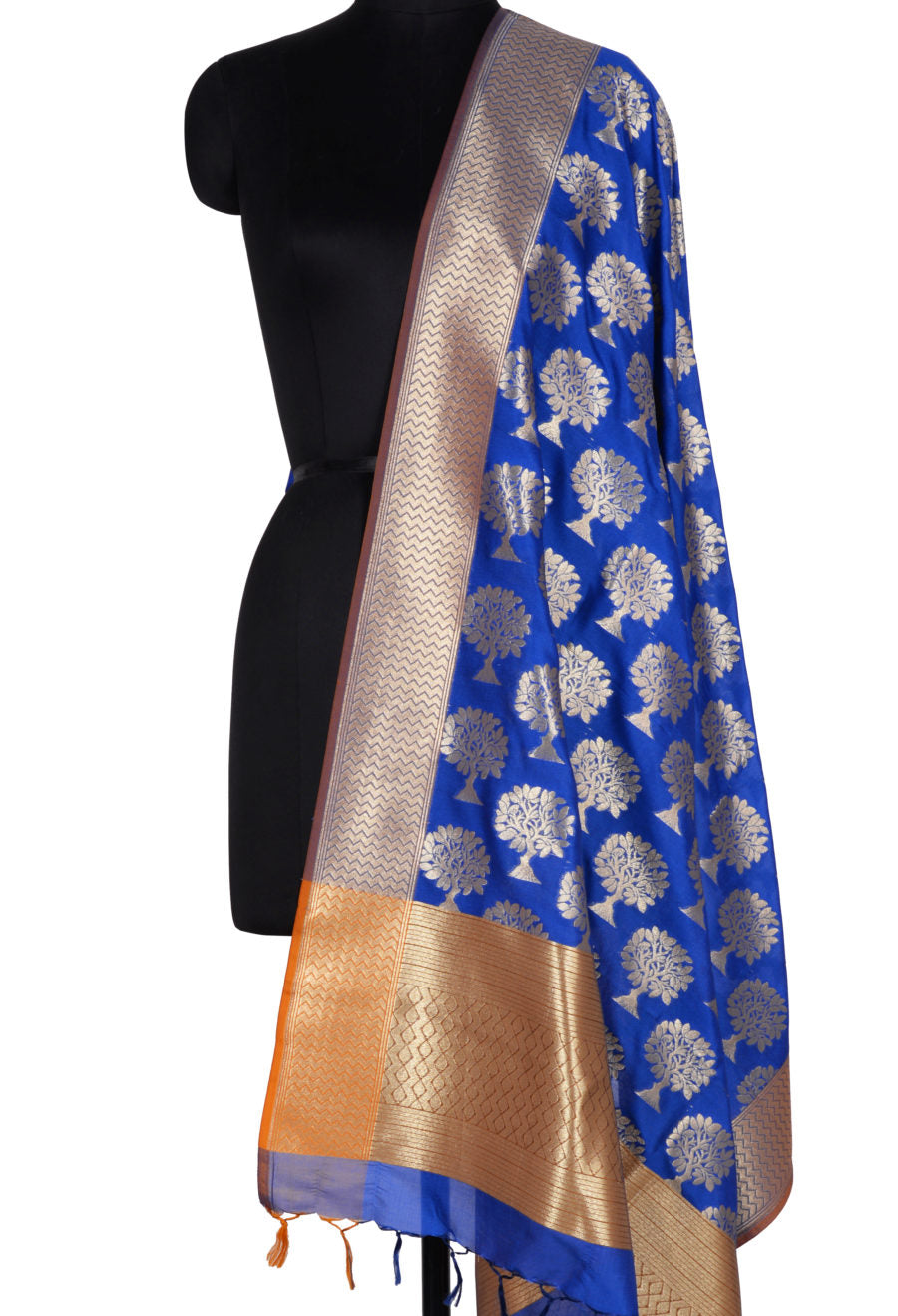 Blue Banarasi Dupatta with tree motifs (1) Main