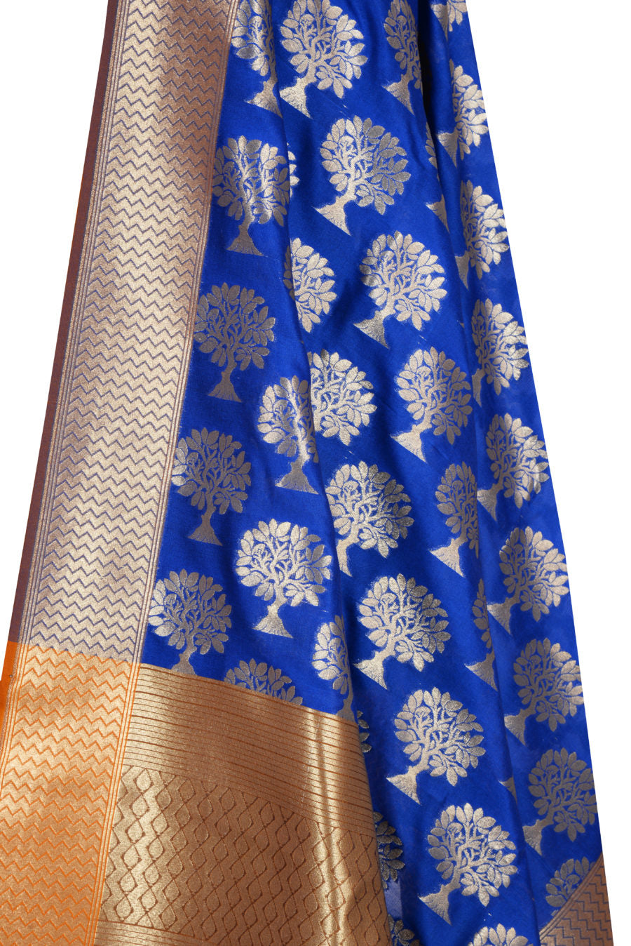 Blue Banarasi Dupatta with tree motifs (2) Close up