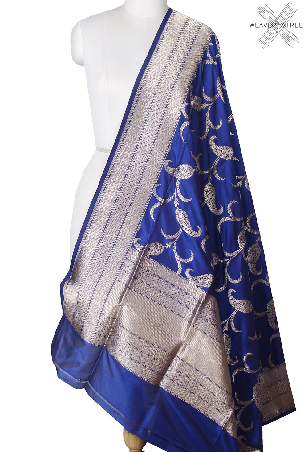 Blue Katan Silk Banarasi dupatta with Paisley leaf jaal (1) main