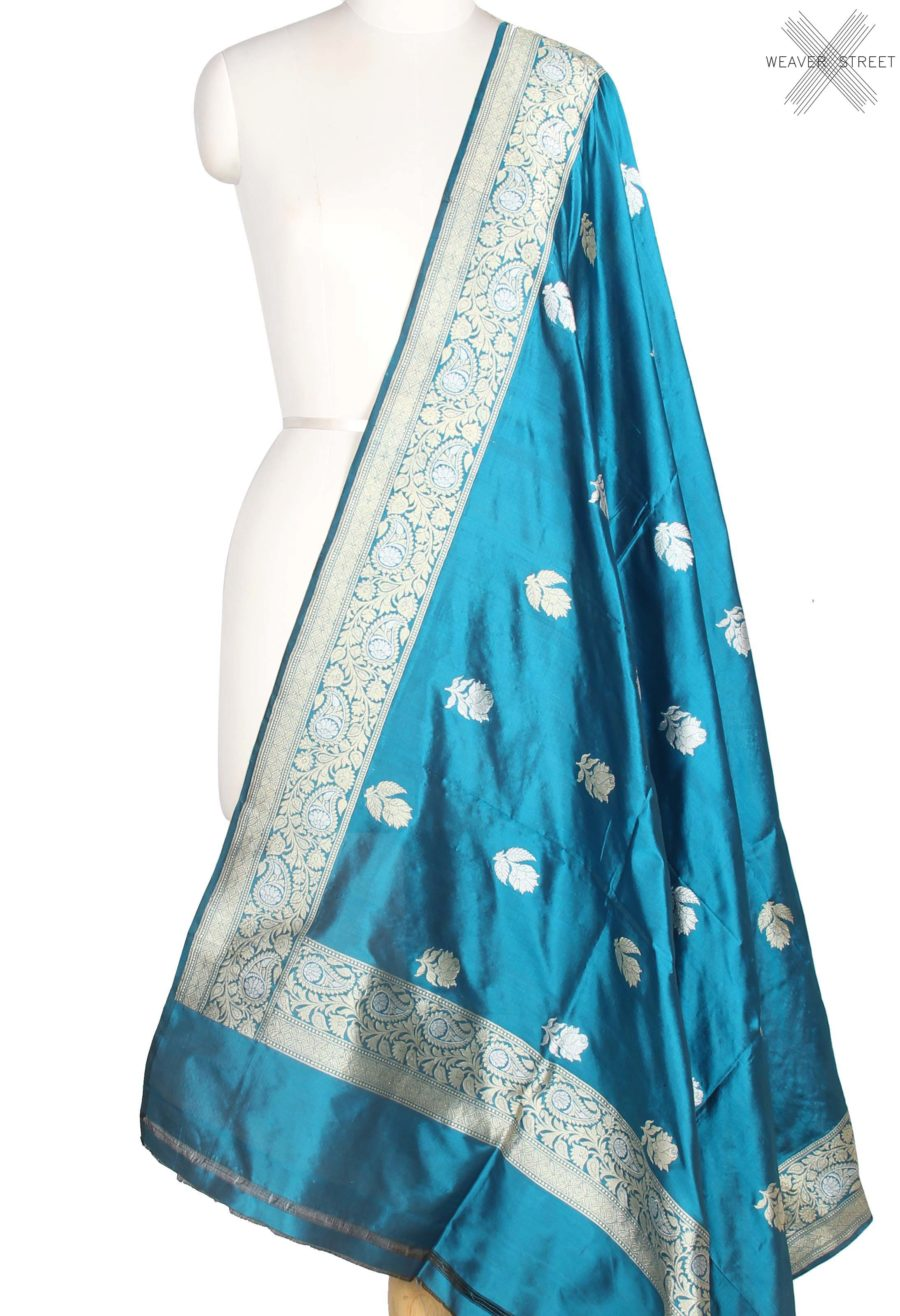 Blue Katan Silk Handwoven Banarasi Dupatta with Rose boota in dual zari (1) main