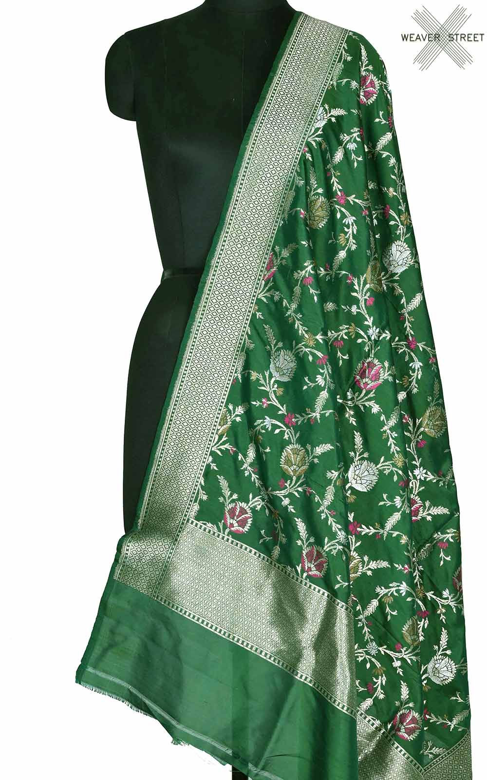 Bottle green Katan silk Banarasi dupatta with artistic meenedar floral jaal (1) Main