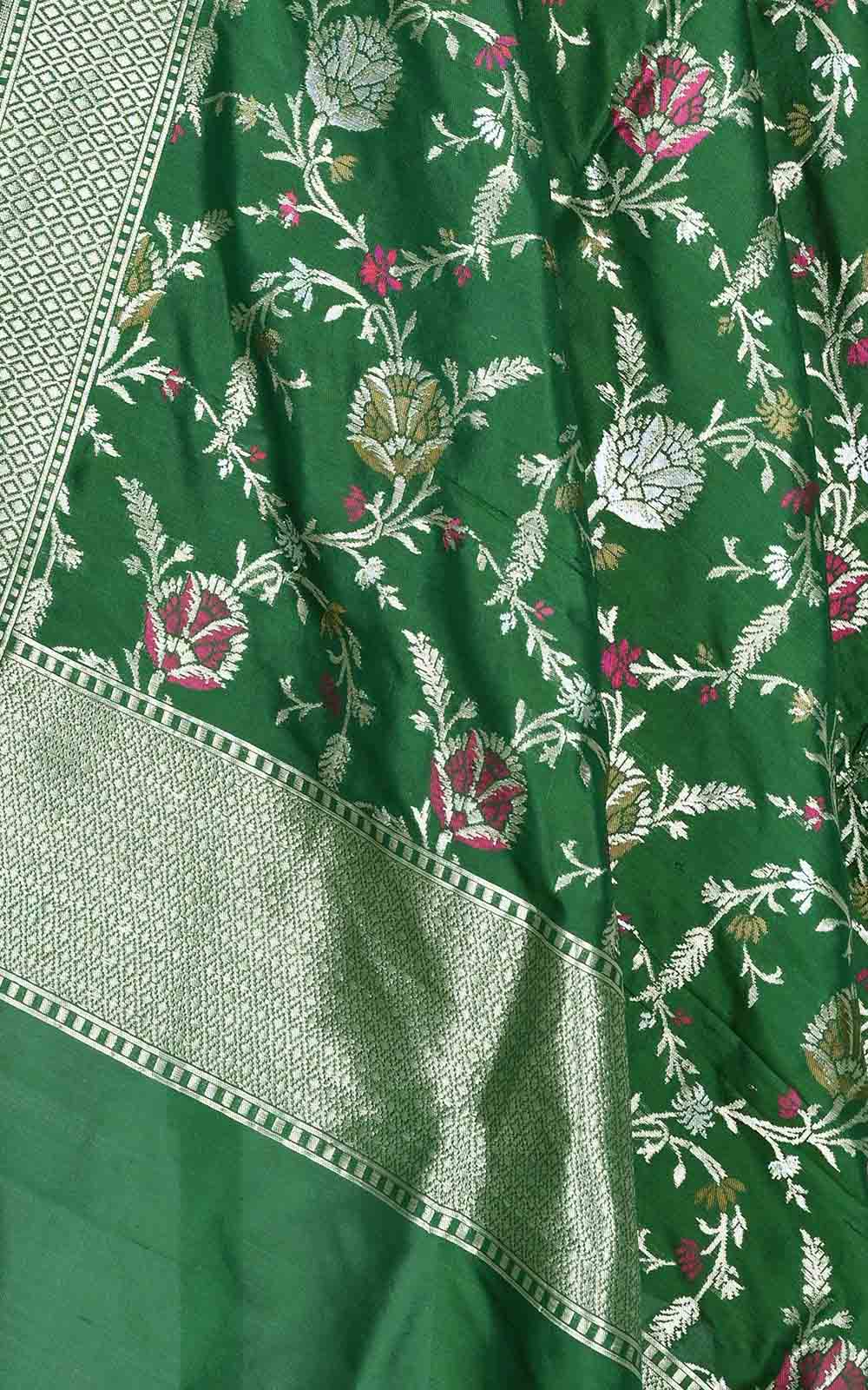 Bottle green Katan silk Banarasi dupatta with artistic meenedar floral jaal (2) Close up
