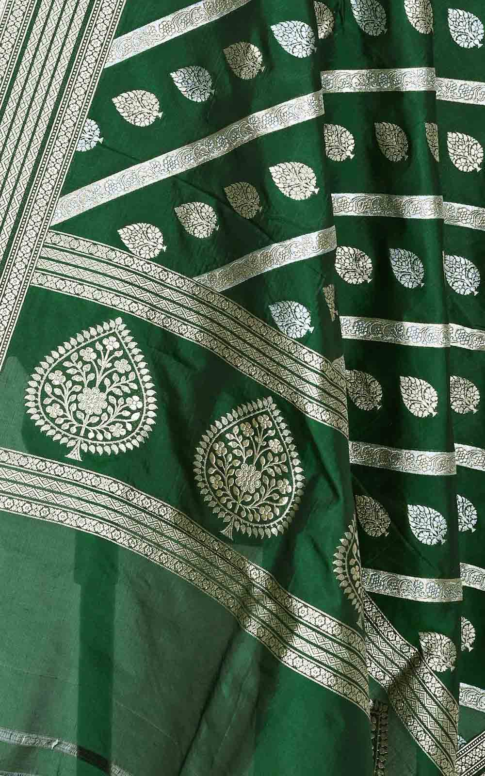 Bottle green katan silk Banarasi dupatta with diagonal leaf boota (2) Close up