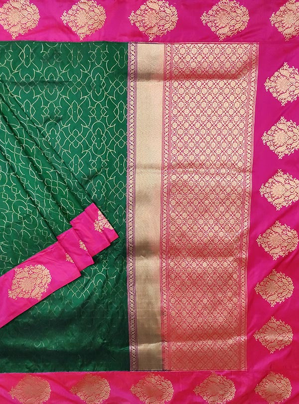 Bottle green katan silk Banarasi saree with tanchoi rangoli pattern (1) main