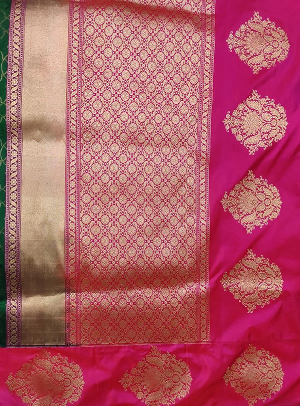 Bottle green katan silk Banarasi saree with tanchoi rangoli pattern (4) anchal