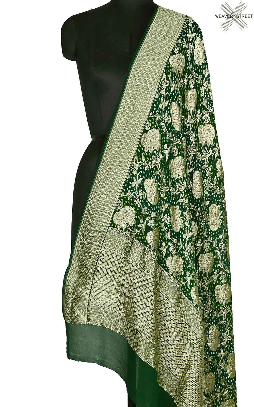 Bottle green khaddi georgette Bandhani Banarasi dupatta (1) Main
