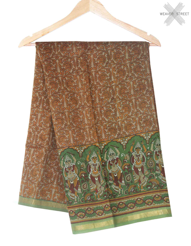 Brown printed silk cotton saree (1) Main
