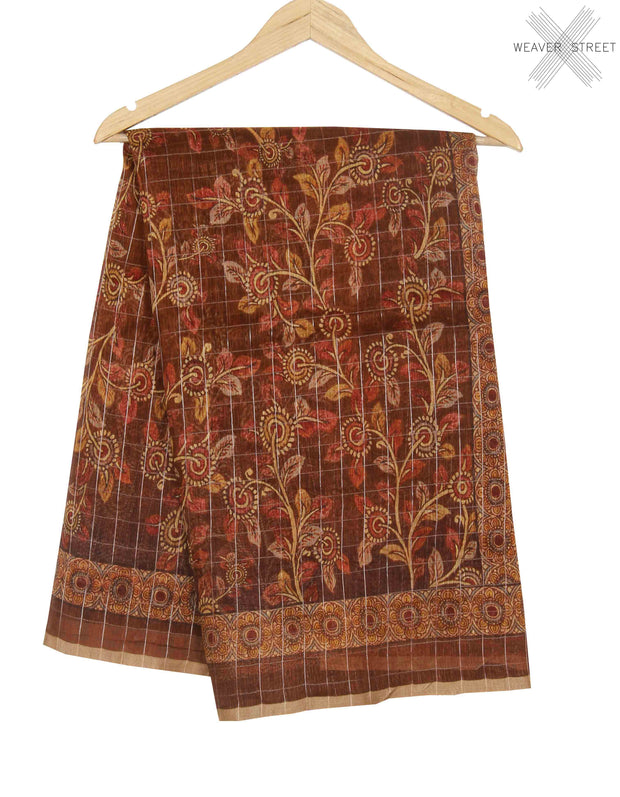 Brown silk linen Banarasi saree with shaded floral prints (1) main