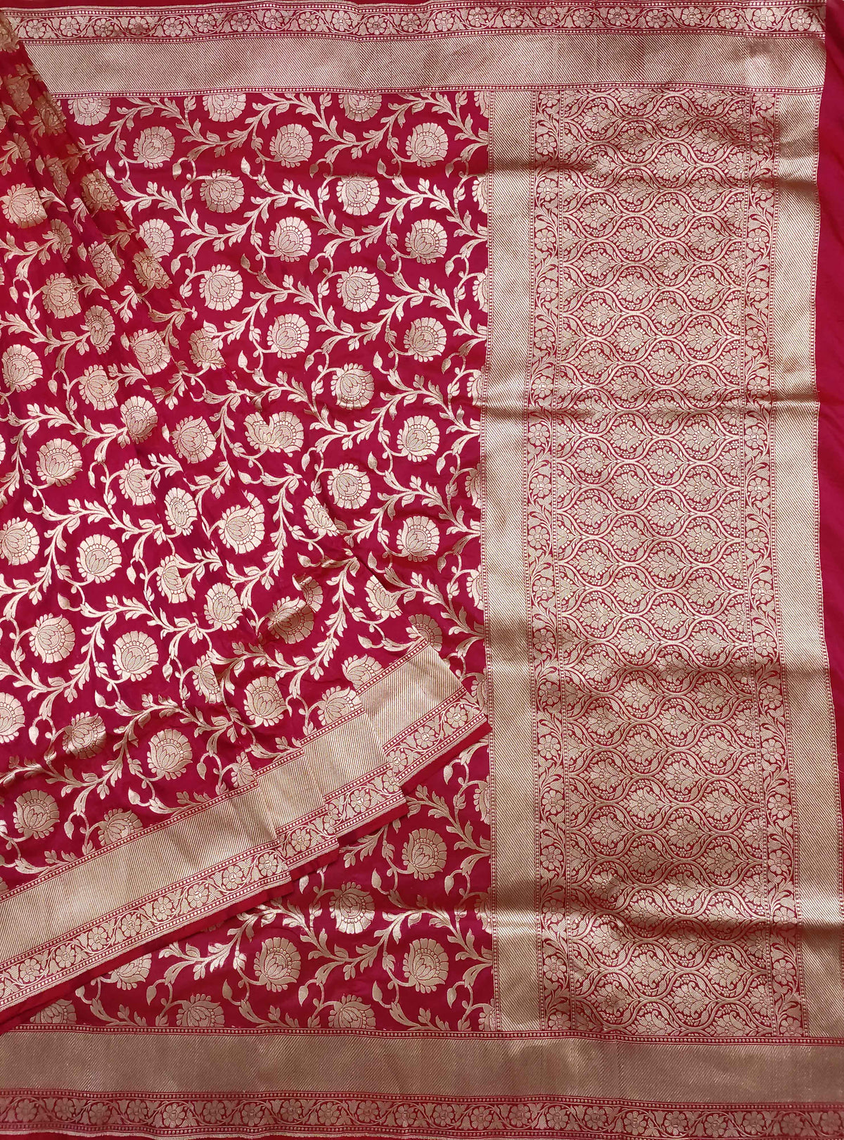 Carmine red Katan silk handloom Banarasi saree with flower jaal (1) Main