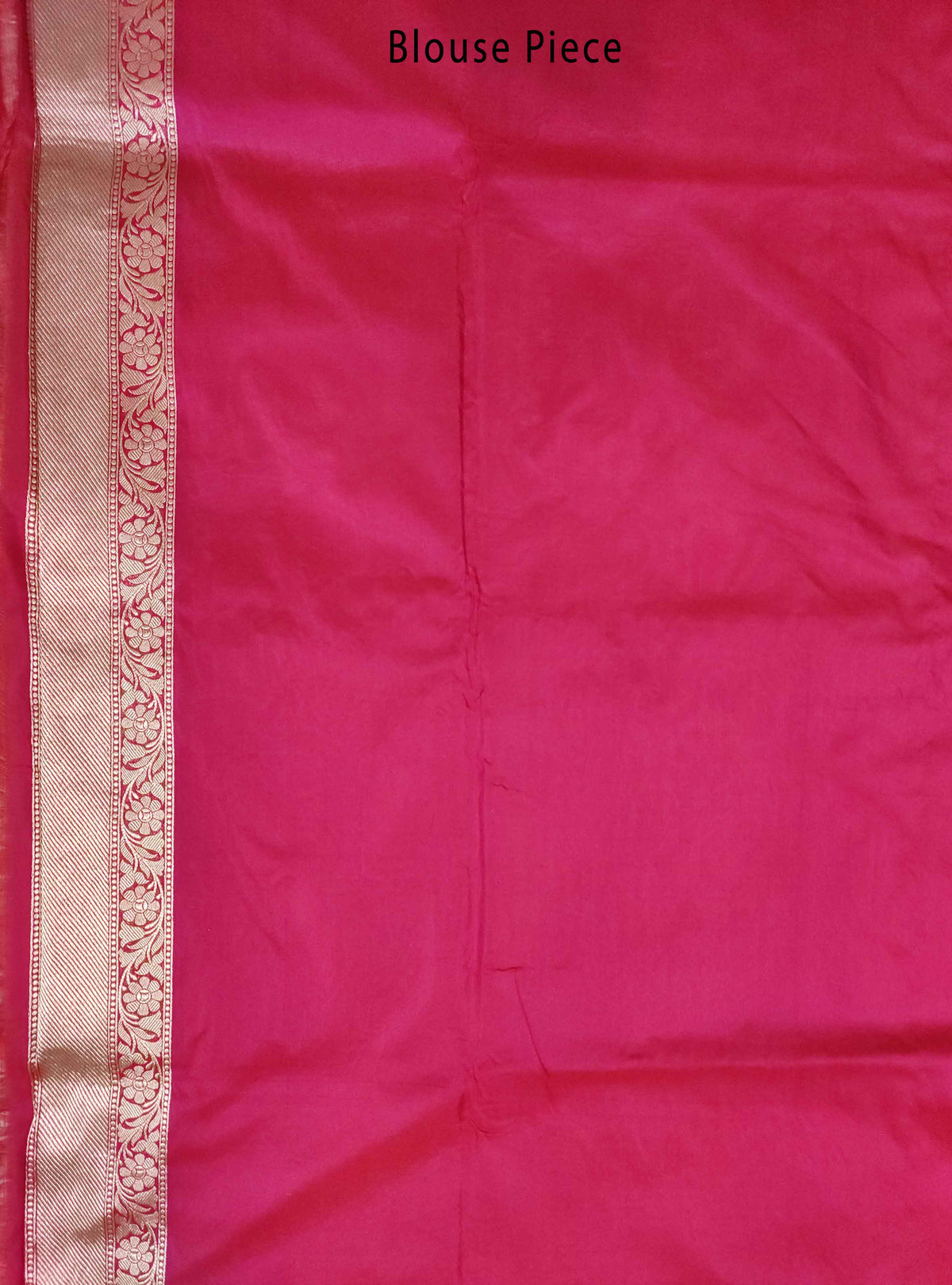 Carmine red Katan silk handloom Banarasi saree with flower jaal (3) Blouse Piece