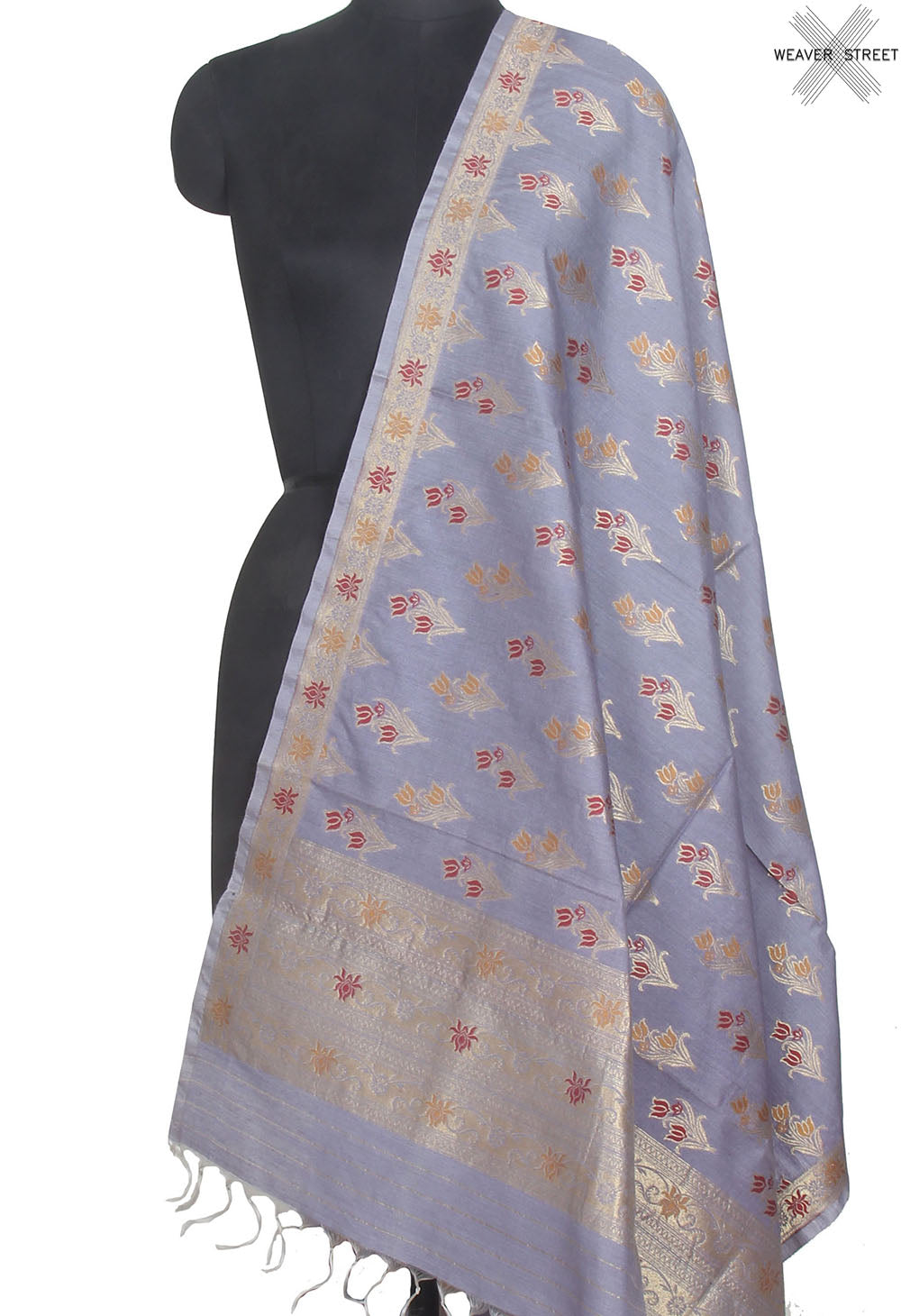 Cement grey Muga silk handwoven Banarasi dupatta with meenedar flower buta (1) Main