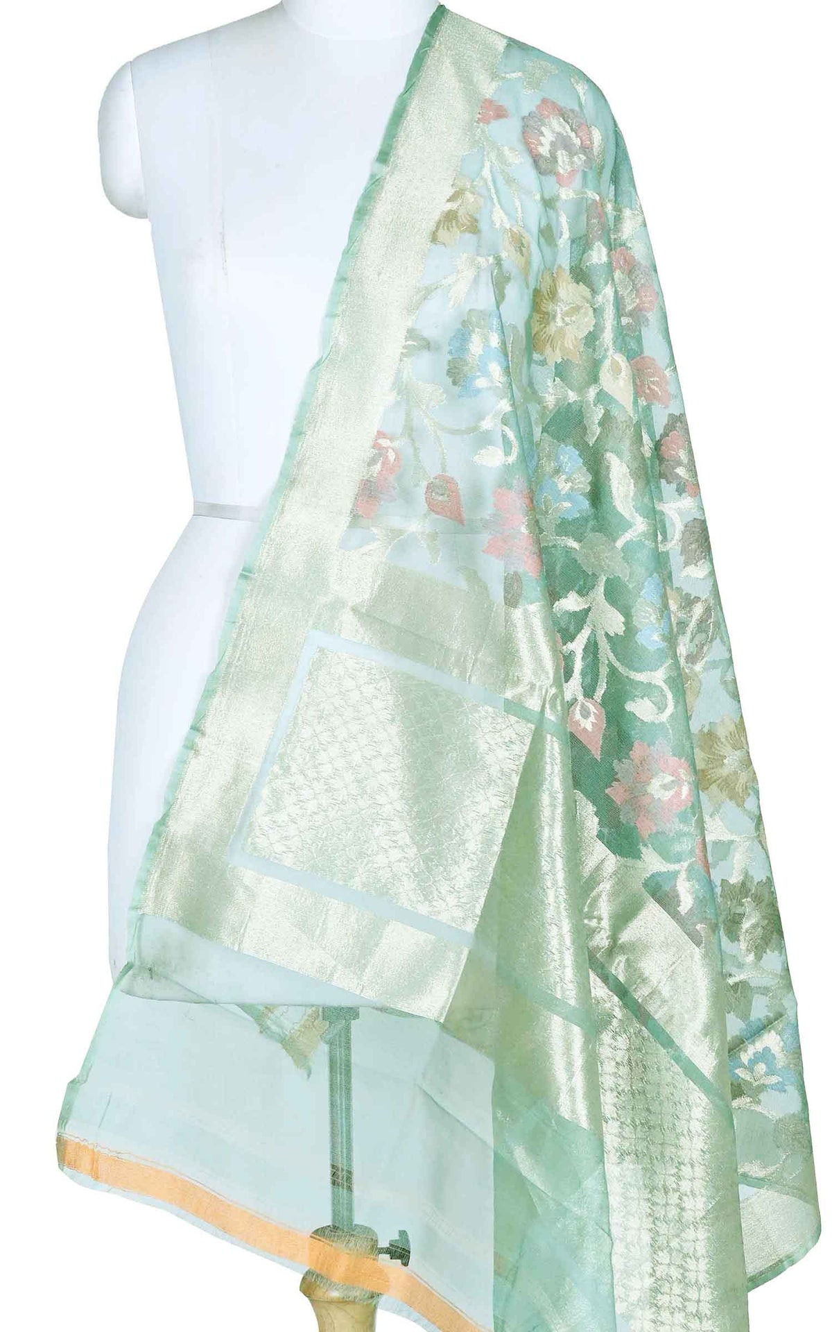Cerulean blue kora silk Banarasi dupatta with multi color flower jaal (1) Main