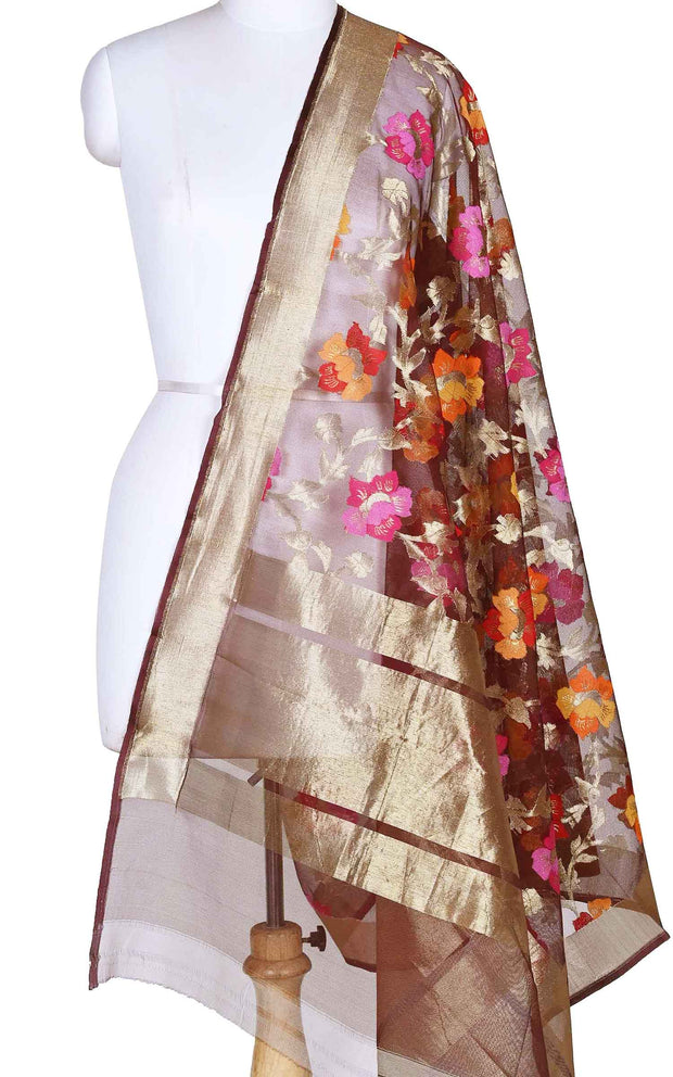 Cola kora silk Banarasi dupatta with multi color flower jaal (1) Main