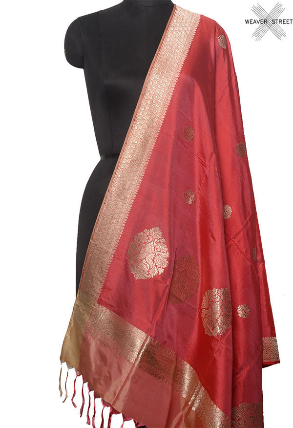 Coral Katan silk handwoven Banarasi dupatta with round but (1) Main