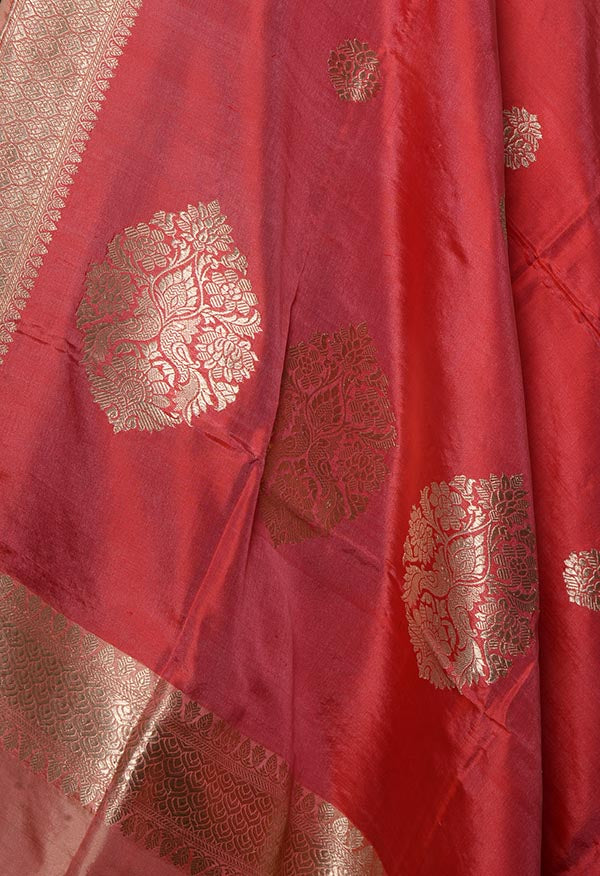 Coral Katan silk handwoven Banarasi dupatta with round buta (2) Close up