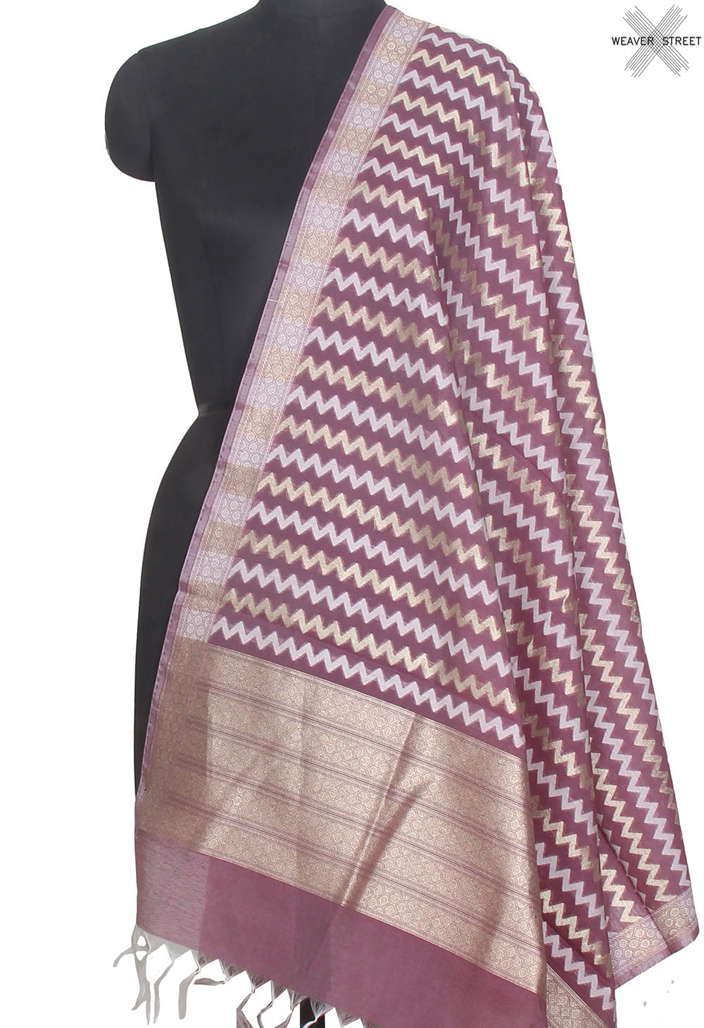 Cranberry silk cotton handwoven Banarasi dupatta with chevron jaal (1) Main