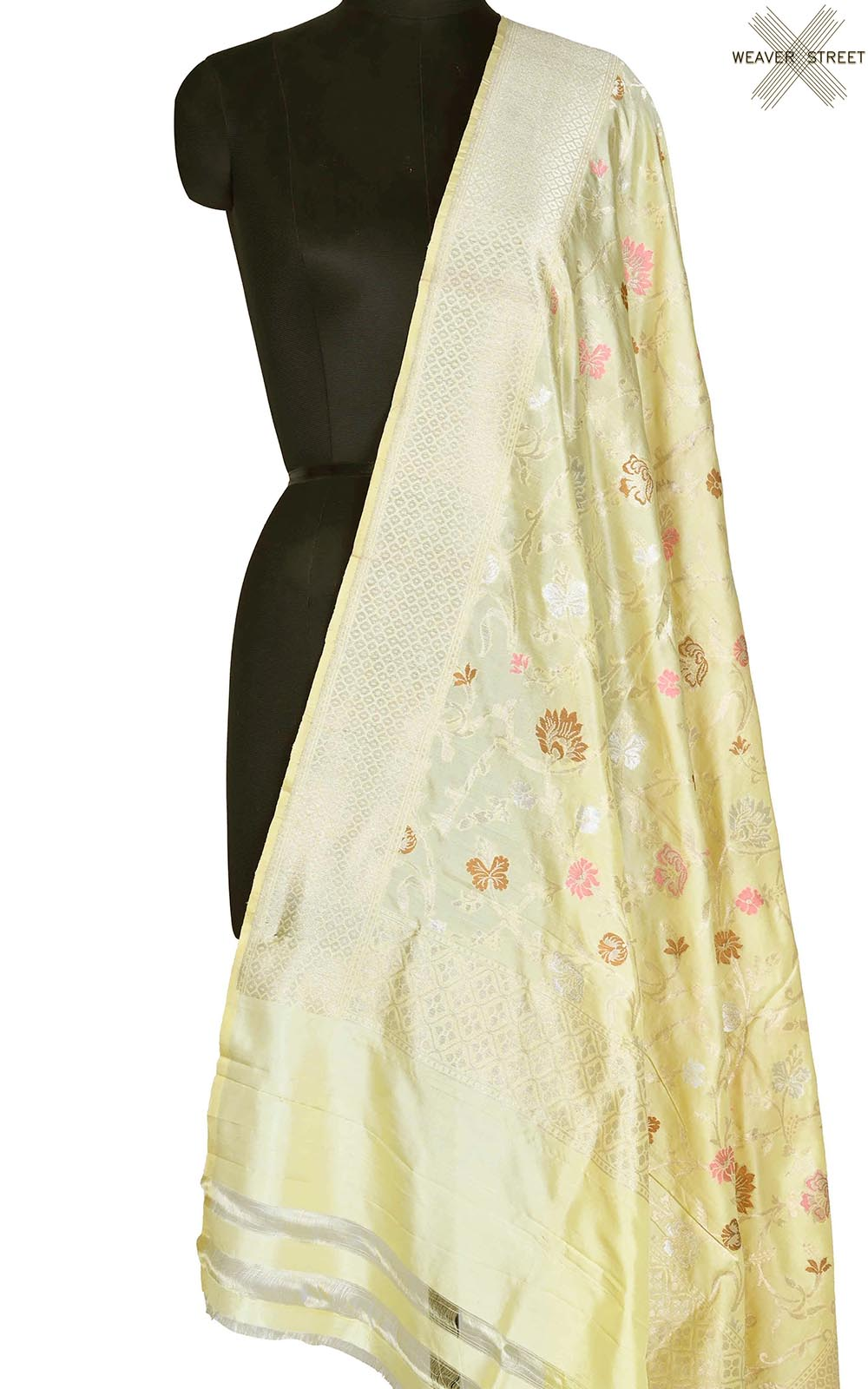 Cream Katan silk Banarasi dupatta with aesthetic meenedar floral jaal (1) Main