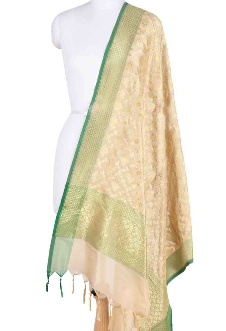 Cream Banarasi dupatta with geometrical motifs and jaal (1) Main