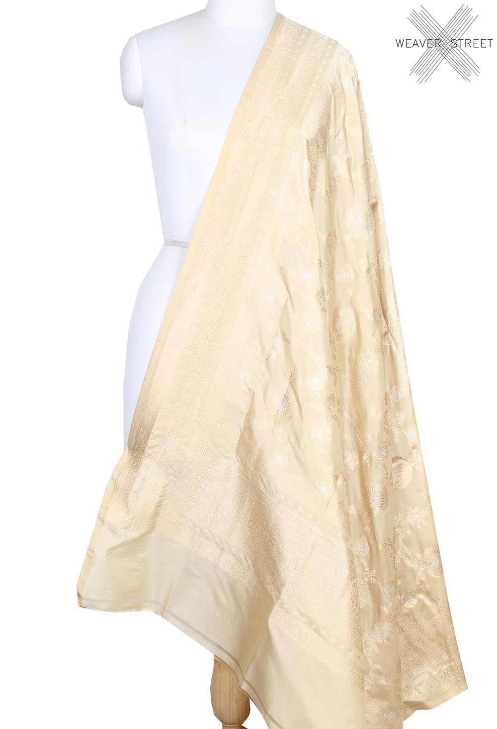 Cream Katan Silk Banarasi dupatta with decorated jaal (1) main