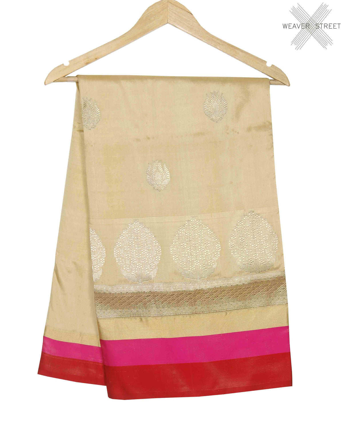 Cream Katan silk handwoven Banarasi saree with stylized boota (1) main