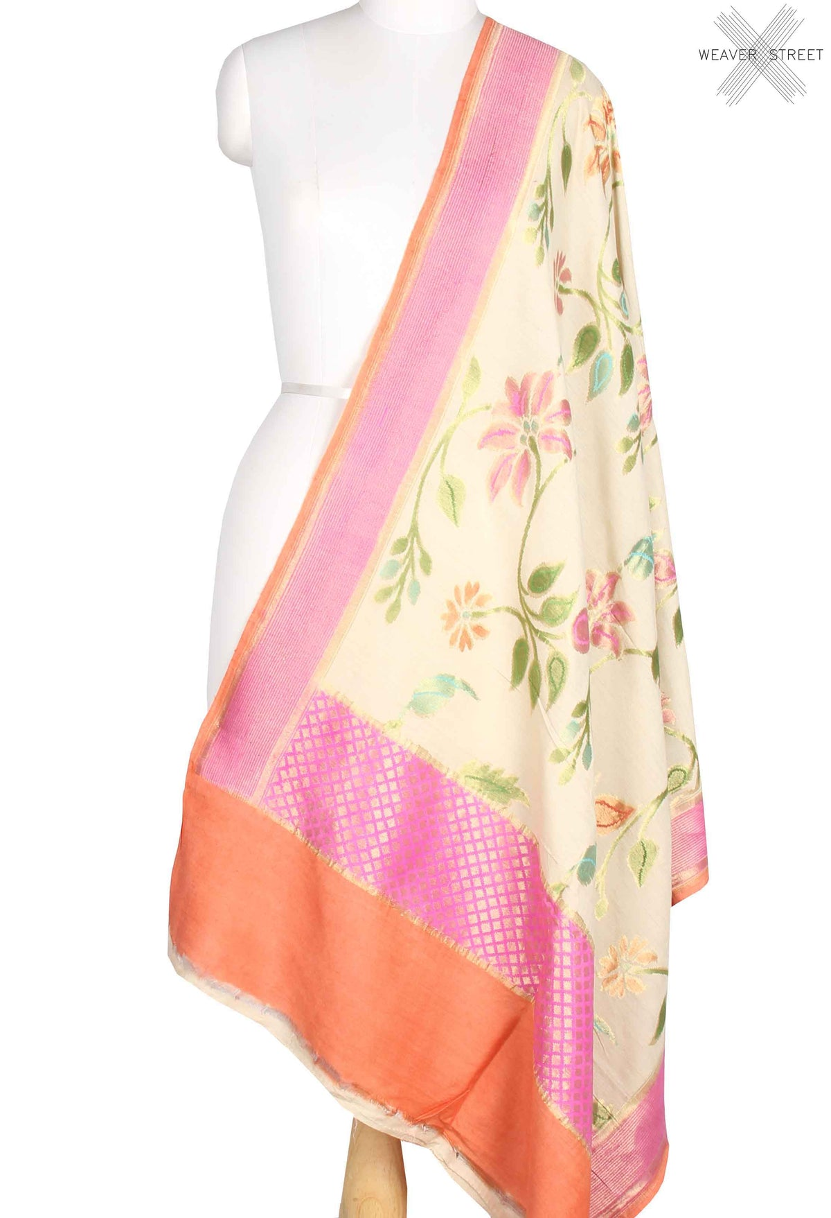 Cream Muga Silk Handwoven Banarasi Dupatta with flower jaal (1) main