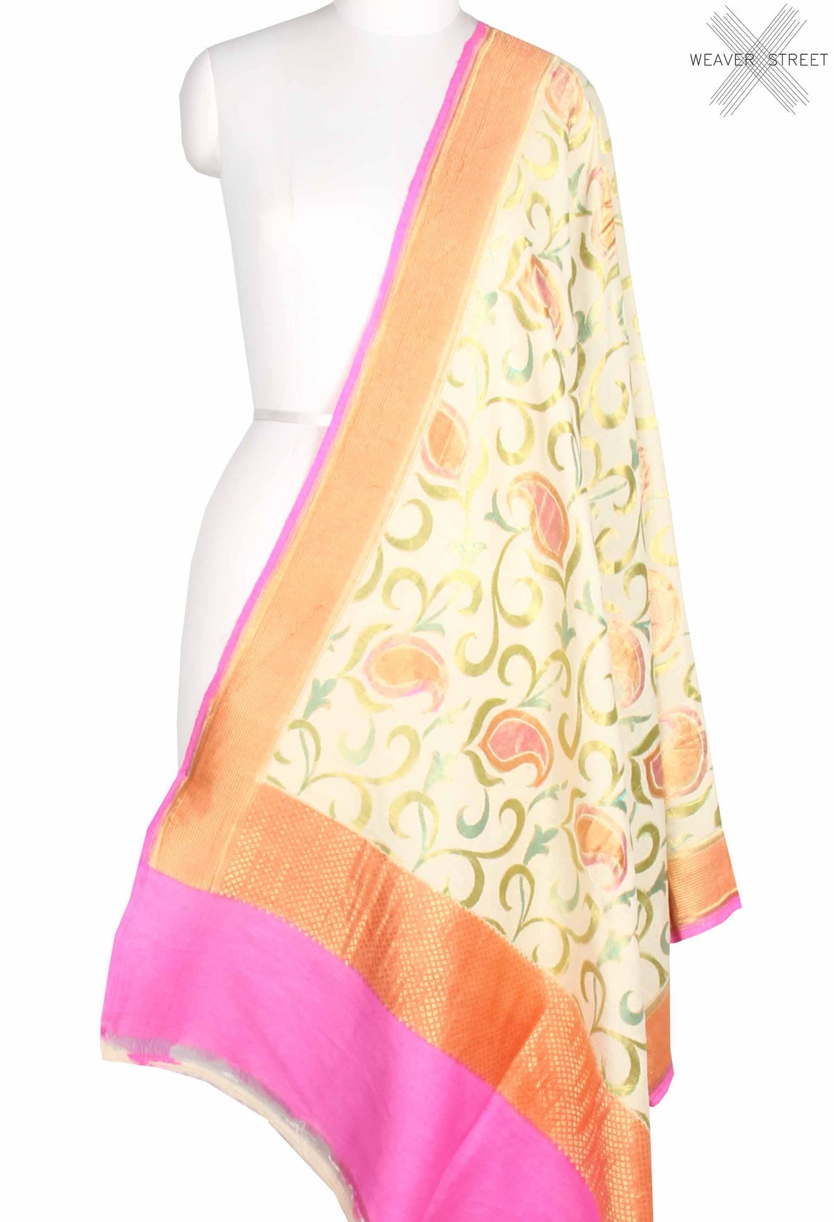 Cream Muga Silk Handwoven Banarasi Dupatta with paisley jaal (1) main