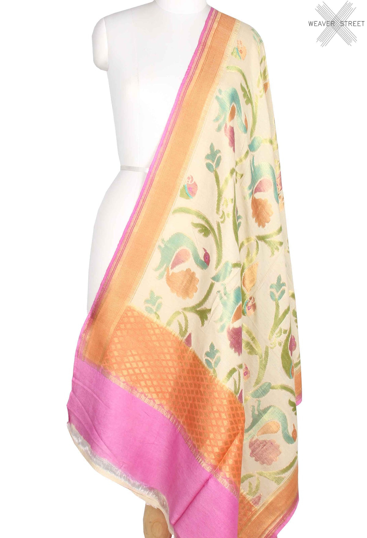 Cream Muga Silk Handwoven Banarasi Dupatta with peacock jaal (1) main