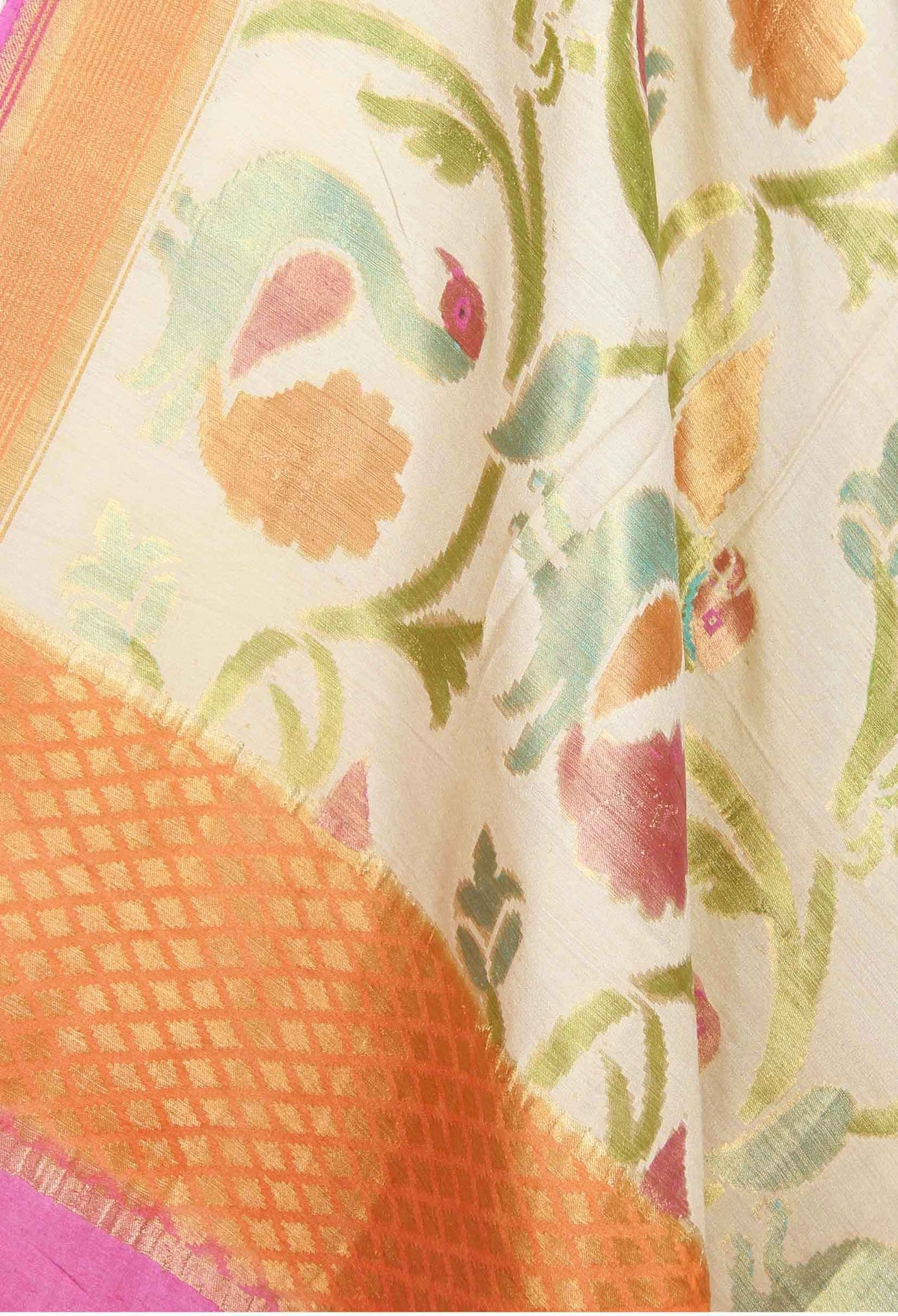 Cream Muga Silk Handwoven Banarasi Dupatta with peacock jaal (2) closeup