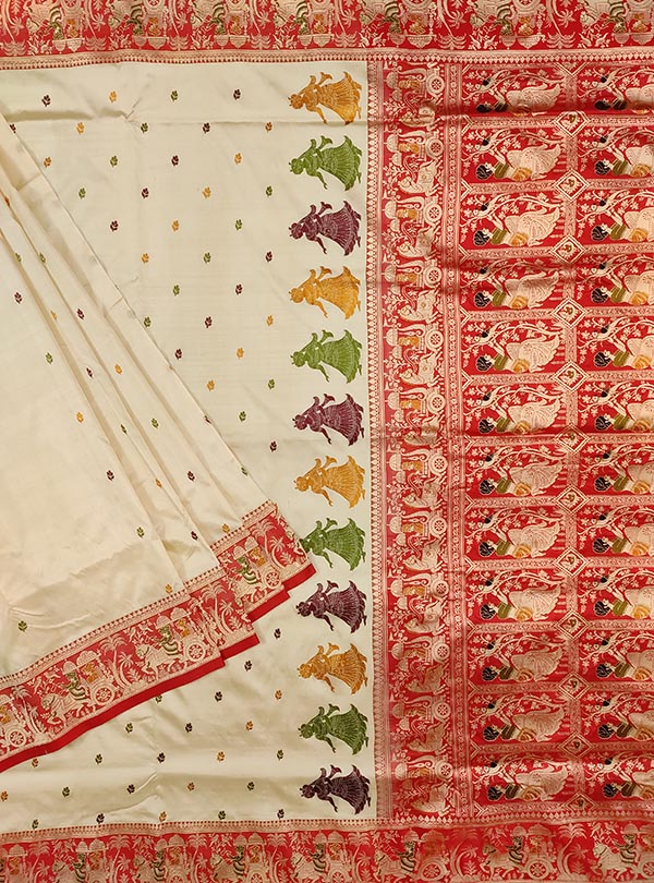 Cream katan silk Banarasi saree with Baluchari style border and anchal (1) Main