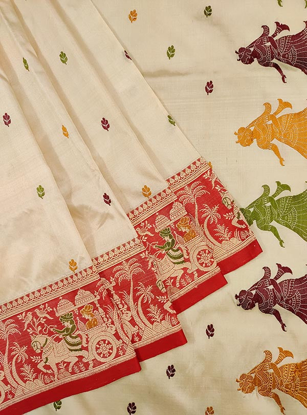 Cream katan silk Banarasi saree with Baluchari style border and anchal (2) Close up